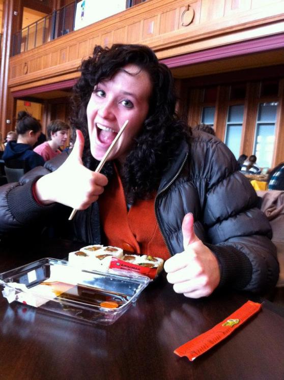A happy Spencer getting some sushi for lunch on campus at the DUC (Danforth University Center)